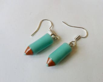 ♥♥♥♥ Earrings ♥ ♥ turquoise colored pencils