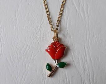 ♥ ♥ ♥ metal Red Rose pendant