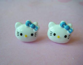 Earrings cats HK blue bow ♥ ♥