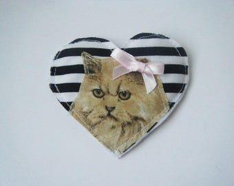 Fabric heart brooch Persian Cat ♥ ♥