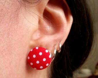 Round earrings - red white polka