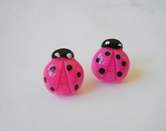 Earrings ♥ ♥ pink ladybugs