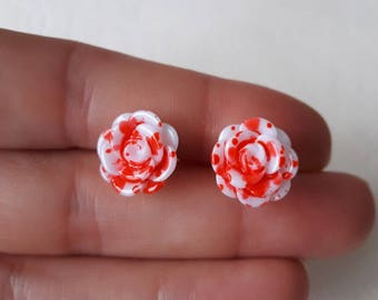 White roses earrings ♥ ♥ bloody red