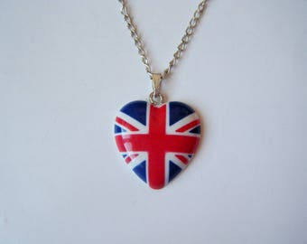 Pendant - UK - British flag heart love