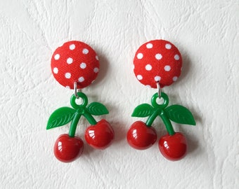 Red round earrings with white polka dots and cherry red