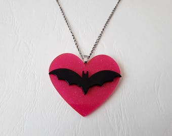 Heart pendant and bat mouse ♥ ♥ pink and black