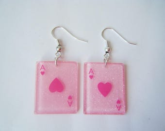 Earrings - cards have pink hearts