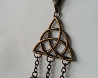 ♥ Celtic triquetra pendant and beads antique ♥