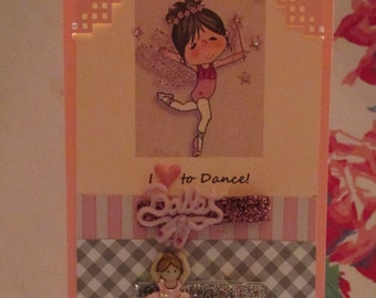 I Love to Dance- HAIR CLIP SET featuring glittery ribbon clips