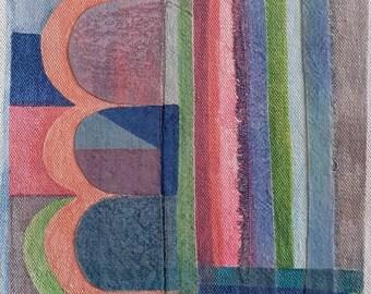 Three Hills, Original collage art, wall art, wall decor, art by Lucie Summers