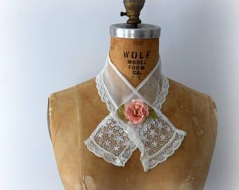 Antique Lace Tie, Ascot, Neck Scarf, Lace Collar, Victorian Tie,