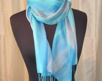 Turquoise Hand Painted Silk Scarf, Art to Wear, One of a Kind, Designer Original, Made in USA, Travel Fashion Accessory, Light Blue & White
