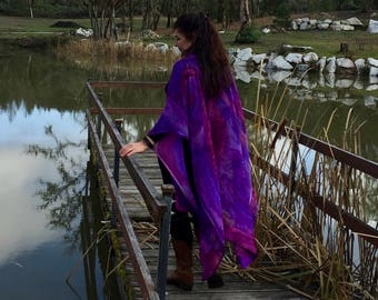 Ultra Violet Hand Painted Silk Ruana, Wedding Shawl for MOB, MOG, Travel Accessory, One of a Kind, Made in USA