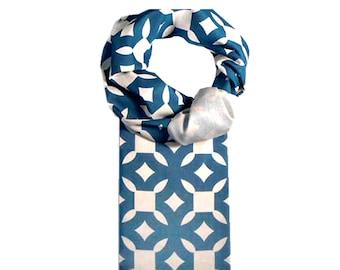 Beau Monde Organics Art Scarf - Original Designs by LA Artist- BMO Organic Cotton - Luxurious - Sustainable Scarves - Blue - Red - Eco Gift
