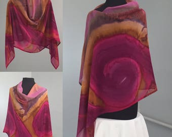 Hand Painted Silk Chiffon Firebird Poncho, Boho Fashion, Travel Wear, Hood, Made in USA, Handmade, Slow Fashion, One of a Kind