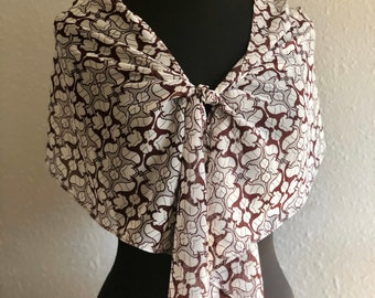 Beige Burgundy and Grey Silk Scarf Shawl, Women's Spring Fashion Accessory, Chiffon Baroque Print, Hand Made in USA, Gift for Her