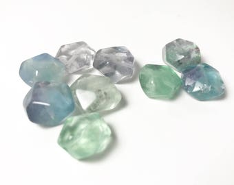 Lovely Curated Set of Free Form Faceted Nuggets - Rainbow Fluorite - 13mm - Sea Green to Clear