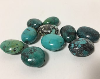 Large Turquoise Nuggets - Lovely Color - Curated Batch - Smooth Tumbled Turquoise Beads