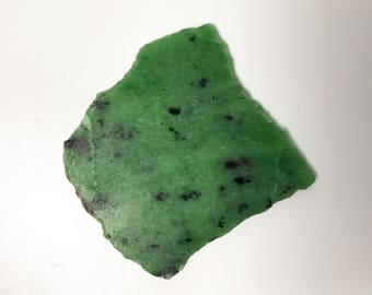Small Thin Lapidary Slice - Rough Slab of Translucent Green Ruby Zoisite with Ruby and Black Amphibole - Saualpite