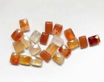 Set of 17 Rectangle Faceted Orange Agate Beads - Varied Color from Dark Orange to Almost White Pink Opaque