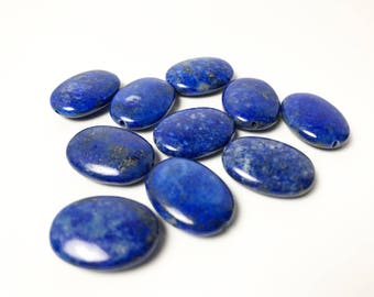 10 Flat Oval Lapis Lazuli Beads - Dark Blue with Gold Pyrite Specks - 20 mm x 15 mm