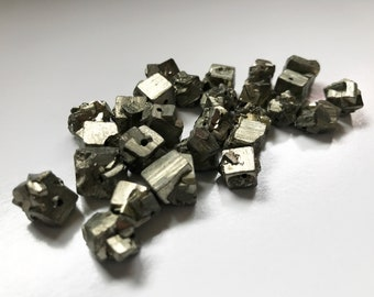 Rough Pyrite Nugget Beads - 28 Pieces - 9 - 10 mm - Metallic Soft Gold Color - Fool's Gold - Geometric