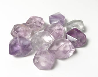 Beautiful Curated Set of Free Form Faceted Nuggets - Rainbow Fluorite - 13mm - Purple and Lavender to Clear