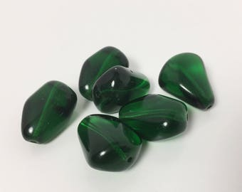 6 Vintage German Glass Green Beads - 22 mm Round - Chunky Flattened Teardrop Shape - Saturated Boho Forest Green