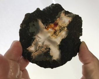 Lapidary Slice - Rough Slab of Dendritic Agate with Blood Red - Translucent - Cabbig Slab