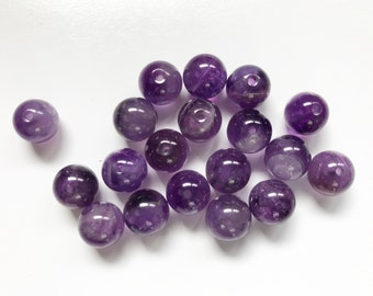 19 Natural Banded Amethyst 10 mm Round Beads - Medium Purple Color
