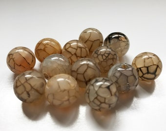 13 Fire Crackle Agate Beads - Coffee Color - Crunch Crackle - Dragon Vein - Spiderweb Agate - 14 mm Round