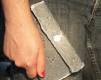 OOAK Grey Beaded Fused Plastic Clutch