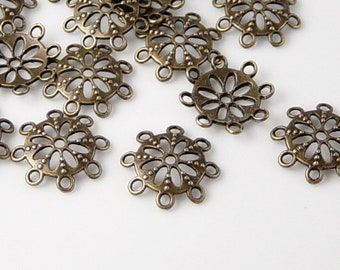 Bead Silver Spacer 100ct Antique Flower Daisy 6.5mm NF 1020spa06s1