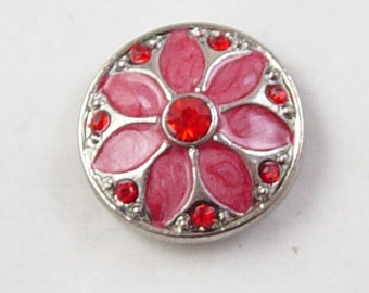 Snap Button Silver 1/ct Round Red Flower Rhinestones 20mm Interchangeable Buttons, 5-6mm knob (1105sna20m1-1) 6b