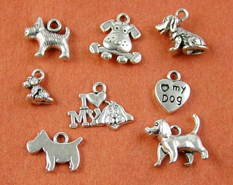 Charm Silver Dog 8/ct Antique Silver Terrier I Heart my dog 11mm - 18mm (1272chm18s1)