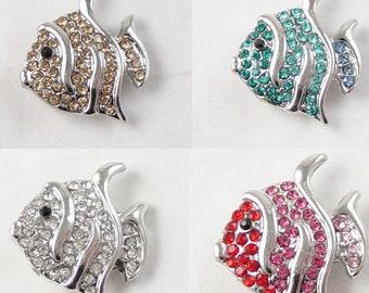 Silver Button Charm SNAP 16/ct (4 each of 4 colors) Rhinestone Glass 20mm Fish 5.5mm knob 6b