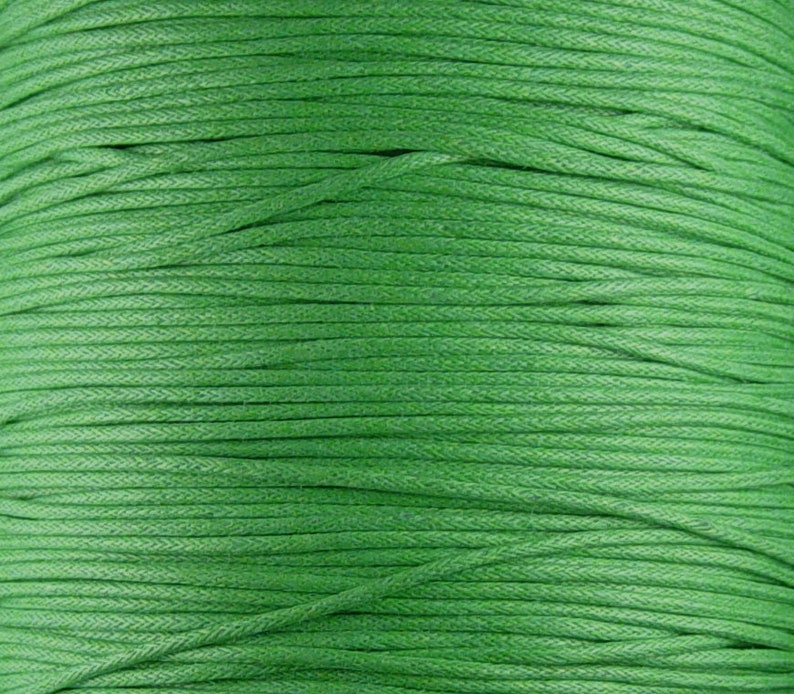 1012cor02m1-2 Cotton Wax Cord 10ct Yards Green 1.5mm thick Spool
