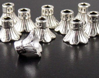 Silver Bead Cap 10 Antique Silver Flower Cone 10mm x 10mm hole 3mm NF (1109cap11s1)