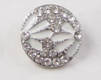 Snap Button Silver 1/ct Round White Flower Rhinestones 20mm Interchangeable Buttons, 5-6mm knob (1130sna20m1) 6b