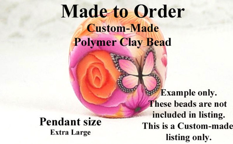 SHAPE and COLOR Choice 2105clay 1ct Extra Large Pendant bead Size Handmade Polymer Clay Bead Floral Flower