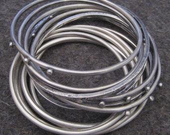 Sterling Silver Bangle Bracelets Stack of Nine Bangles