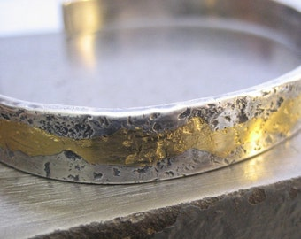 Golden Man Up Cuff Sterling Silver Bracelet with Keum Boo