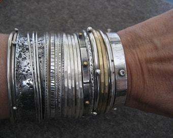 Chunky Wabi Sabi ..... Sterling Silver Bangle Bracelet
