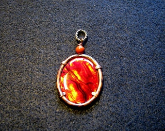 Red paua shell and copper pendant