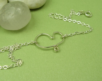 CHERISH HEART ANKLET, sterling silver dainty anklet cable chain open heart anklet custom sizing