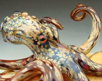 Glass Octopus Sculpture Aquarium Art Ocean art Metallic Boro by Kenny Talamas (made to order)