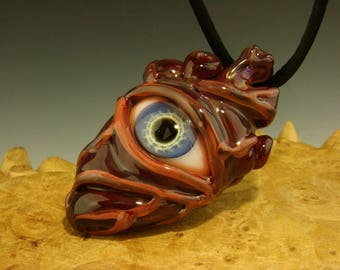 Glass Eye of the Heart Pendant lampwork Boro focal bead by Kenny Talamas oddity VGW (made to order)