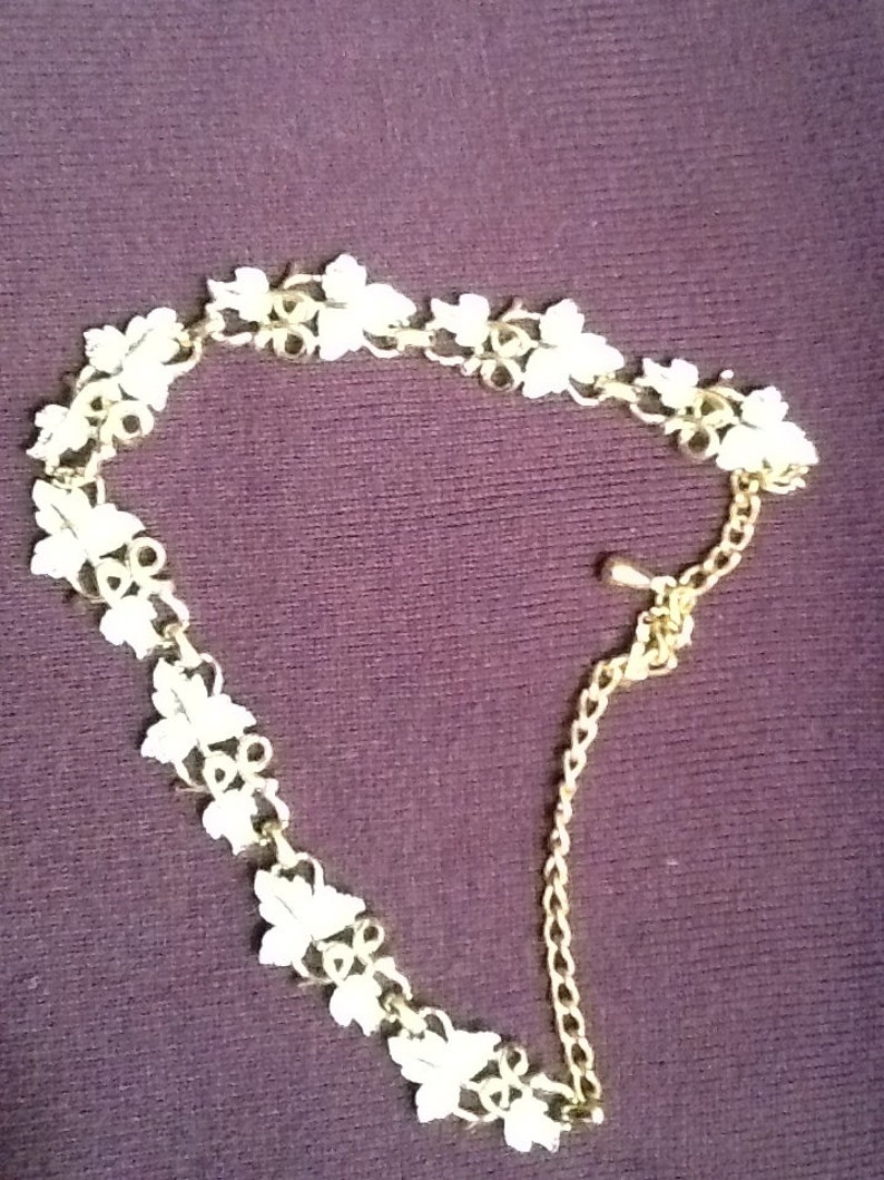 Vintage silver and gold tone leaf vintage choker and matching clip earrings