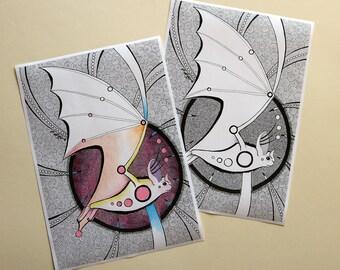 Bats illustration  drawing bat  bat printscard halloween postcardbatman drawingcard original postcardcard postcard design
