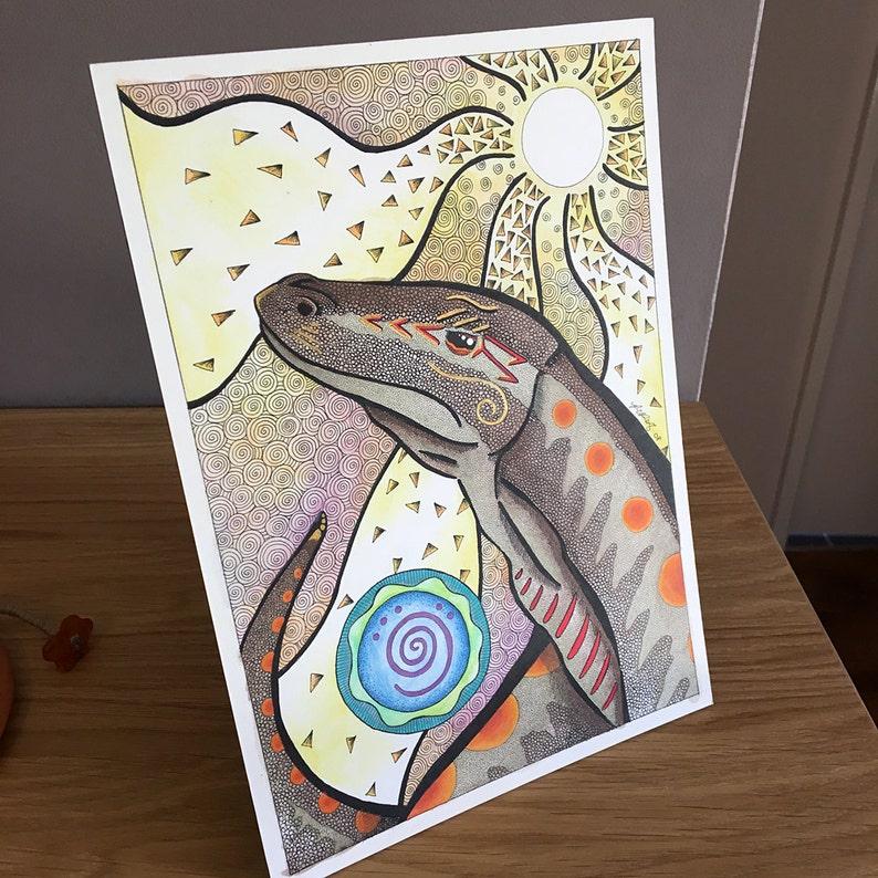 Goanna and Sun as Totem - Original Art